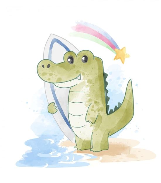 Crocodile De Dessin Animé Avec Planche De Surf Sur La Plage Vecteur Premium
