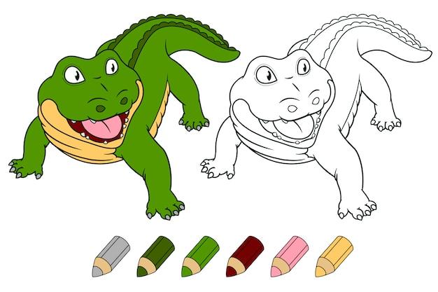 Crocodile de dessin animé pour cahier de coloriage. Vecteur Premium