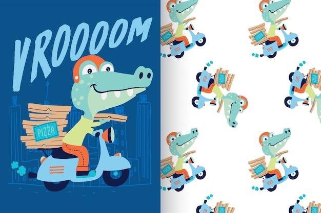 Crocodile mignon dessiné avec un motif Vecteur Premium