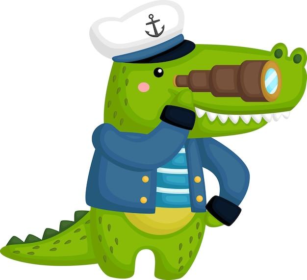 Un Crocodile Mignon Portant Une Tenue De Marin Vecteur gratuit
