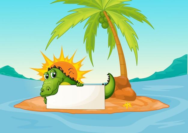 Un crocodile tenant un panneau vide dans une petite île Vecteur gratuit