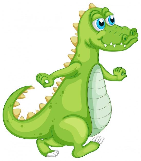 Crocodile Vert Sur Blanc Vecteur gratuit