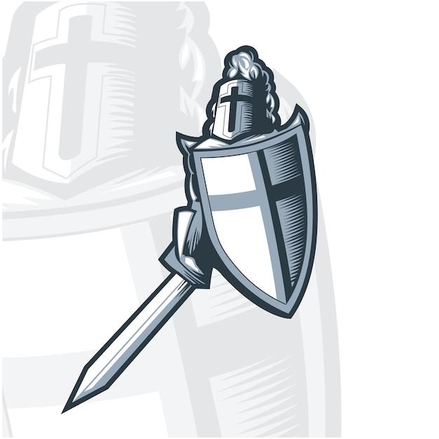 Croisé chevalier monochrome avec épée et bouclier. Vecteur Premium