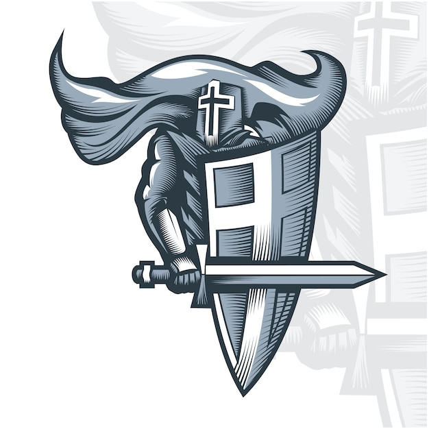 Croisé chevalier monochrome Vecteur Premium