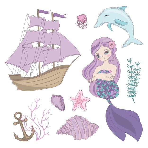 Croisière d'été sirène mer océan Vecteur Premium