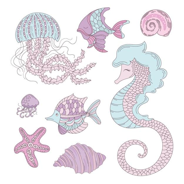 Croisière d'été sous-marine sea animals Vecteur Premium