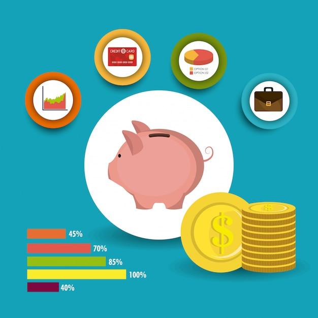 Croissance des affaires et économies Vecteur gratuit