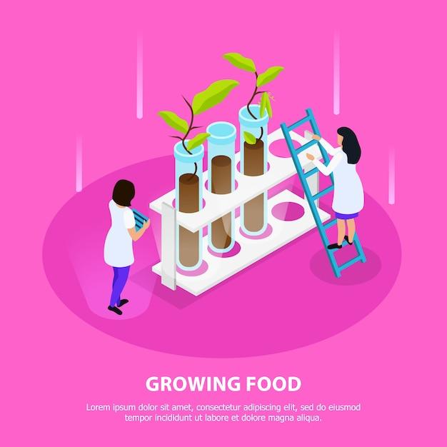 Croissance De La Composition Isométrique Des Aliments Artificiels Avec Des Germes Dans Des Béchers De Laboratoire Sur Rose Vecteur gratuit