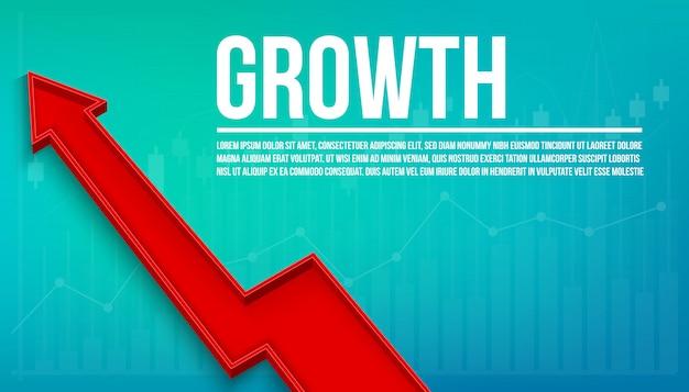 Croissance financière flèche 3d, graphique grandir fond Vecteur Premium