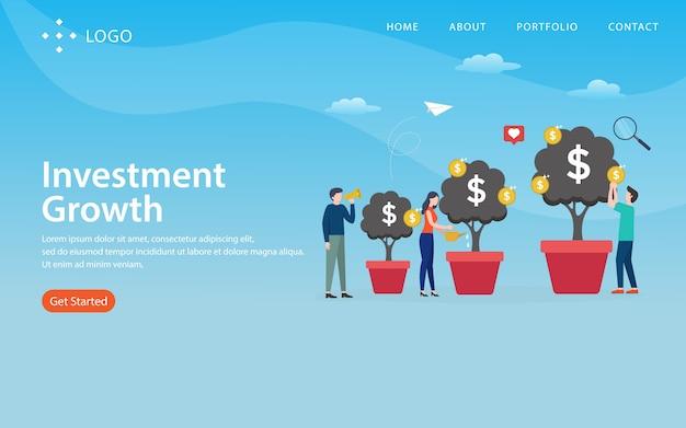 Croissance des investissements, modèle de site web, en couches, facile à modifier et à personnaliser, concept d'illustration Vecteur Premium