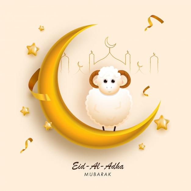 Croissant D'or 3d Avec Des Moutons De Dessin Animé, Une Mosquée D'art En Ligne Et Des étoiles Décorées Sur Fond Jaune Pêche Pour Eid-al-adha Mubarak. Vecteur Premium