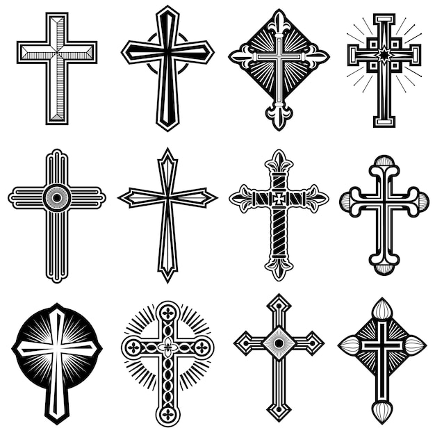 Croix chrétienne catholique avec jeu d'icônes vectorielles ornement Vecteur Premium