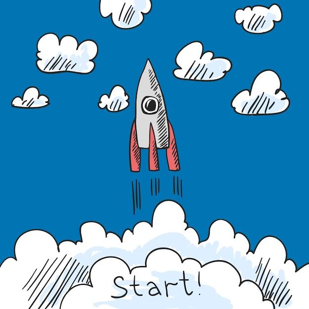 Croquis d'affiche de fusée Vecteur gratuit