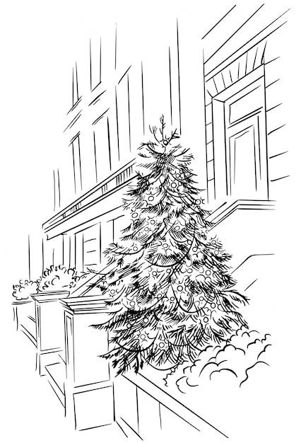 Croquis de l'arbre de noël près du bâtiment, rue du nouvel an dessinée à la main. extérieur des vacances d'hiver Vecteur Premium