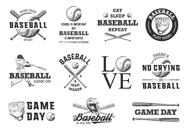 Croquis De Baseball Avec Typographie De Motivation Vecteur Premium