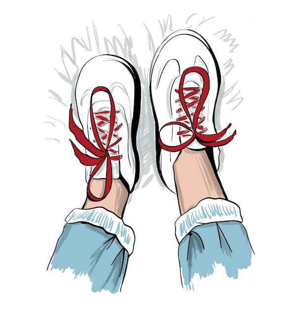 Croquis de baskets à lacets rouges Vecteur Premium