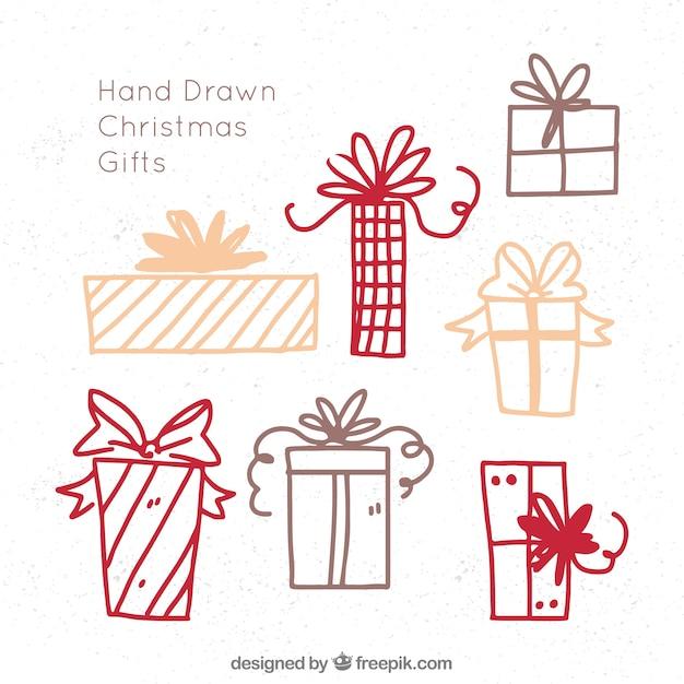 Croquis de cadeaux de noël Vecteur gratuit
