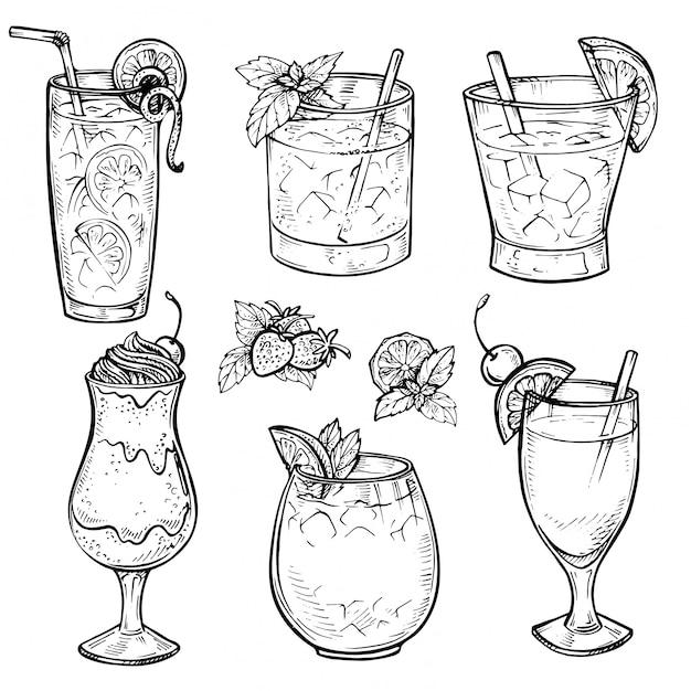 Croquis De Cocktails Et De Boissons Alcoolisées. Vecteur Premium