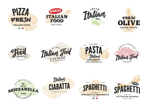 Croquis De La Collection De Logos Alimentaires Italiens Vecteur gratuit