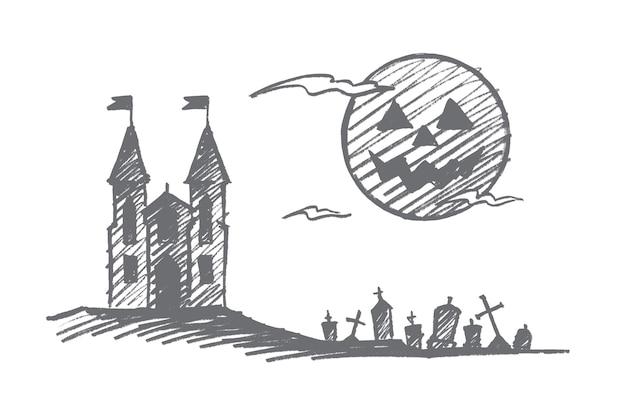 Croquis De Concept Halloween Dessiné à La Main Vecteur Premium