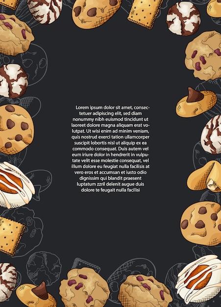 Croquis De Conception Graphique à L'encre. Biscuits Sucrés. Vecteur Premium