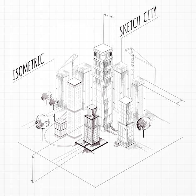 Croquis de construction de ville isométrique Vecteur Premium