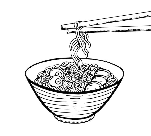 Croquis de cuisine japonaise dessiné à la main illustration. ramen Vecteur Premium