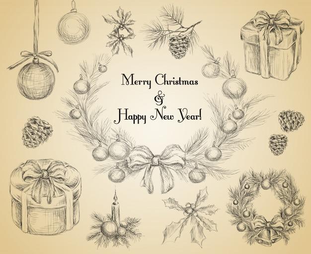 Croquis de décoration joyeux noël et bonne année Vecteur Premium