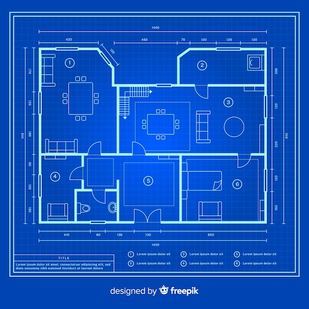 Croquis dessin de blueprint house Vecteur gratuit