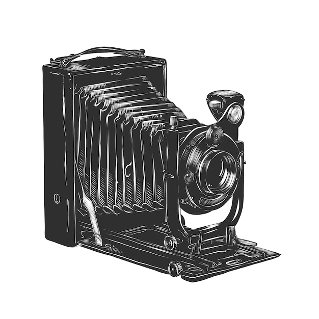 Croquis dessiné main d'appareil photo vintage en monochrome Vecteur Premium