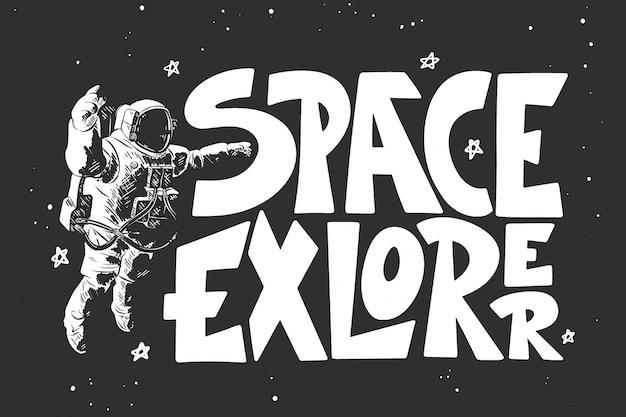Croquis dessiné main d'astronaute avec lettrage Vecteur Premium