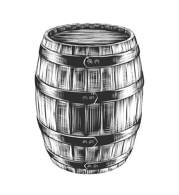 Croquis dessiné de main de baril de vin Vecteur Premium