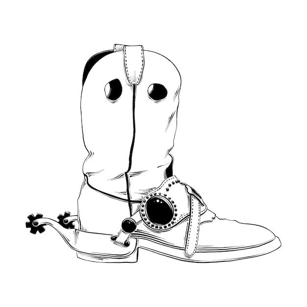 Croquis dessiné à la main de botte de cow-boy western Vecteur Premium