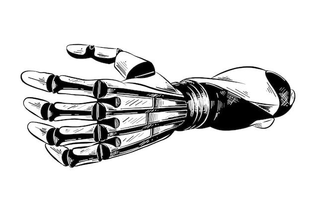 Croquis dessiné main de bras robotique en noir Vecteur Premium