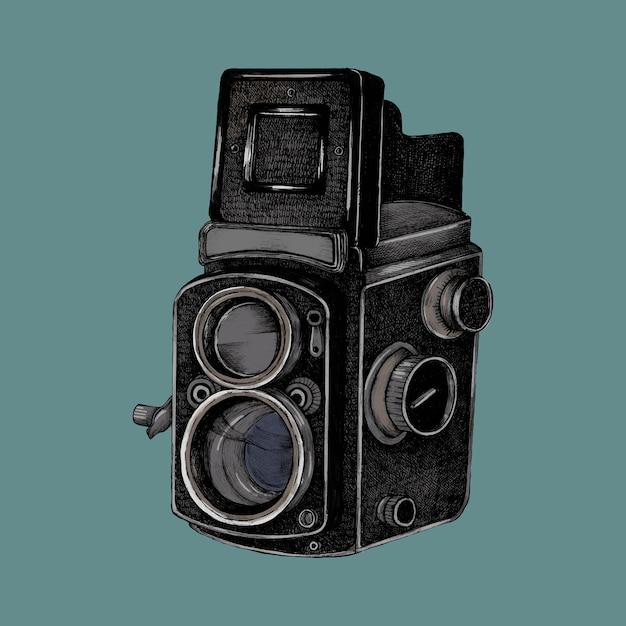 Croquis dessiné de la main d'une caméra Vecteur Premium