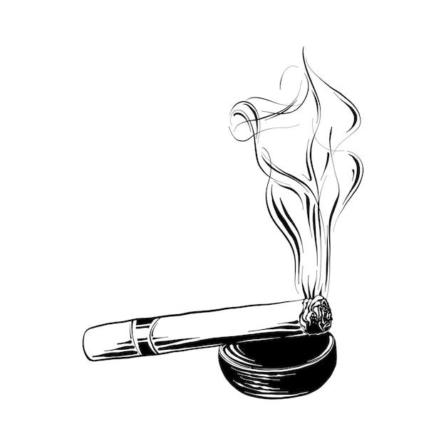 Croquis dessiné main de cigare brûlant en noir Vecteur Premium