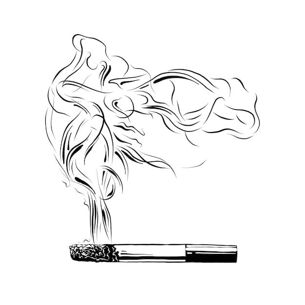 Croquis dessiné main de cigarette allumée en noir Vecteur Premium