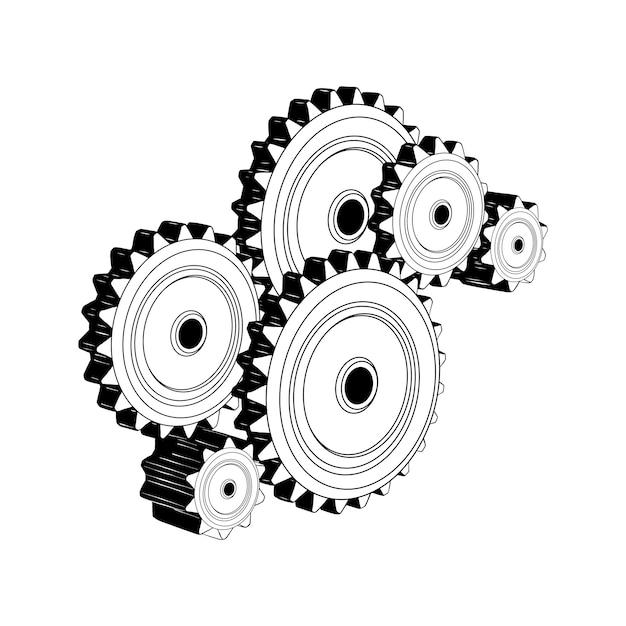 Croquis dessiné à la main des engrenages mécaniques Vecteur Premium