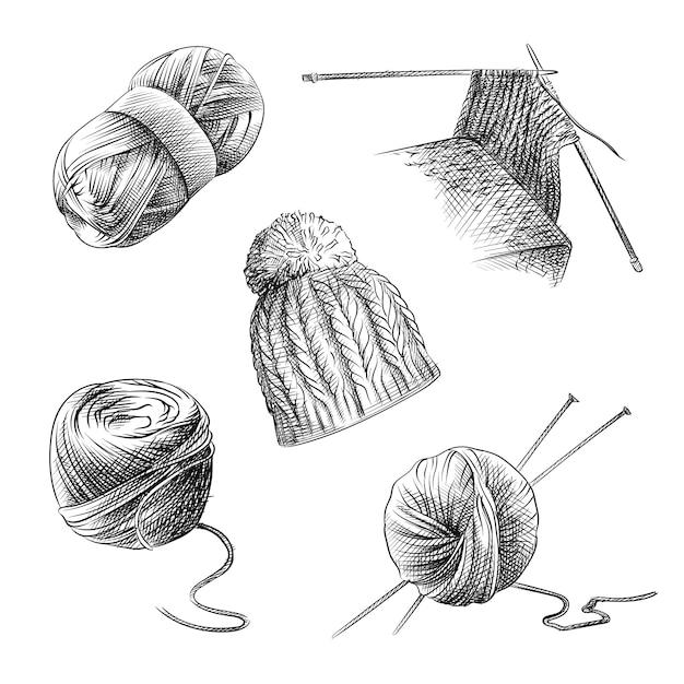 Croquis Dessiné à La Main De L'ensemble De Tricot. L'ensemble Se Compose De Laine à Tricoter, D'aiguilles à Tricoter Pendant La Genouillère, D'un Bonnet Tricoté, D'une Pelote De Fil Ronde Et Oblongue. Vecteur Premium