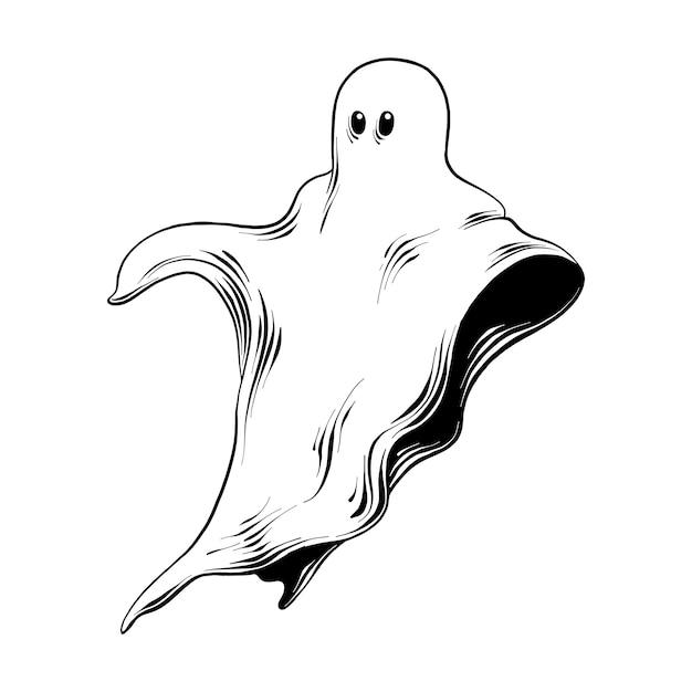Croquis dessiné main de fantôme en noir Vecteur Premium