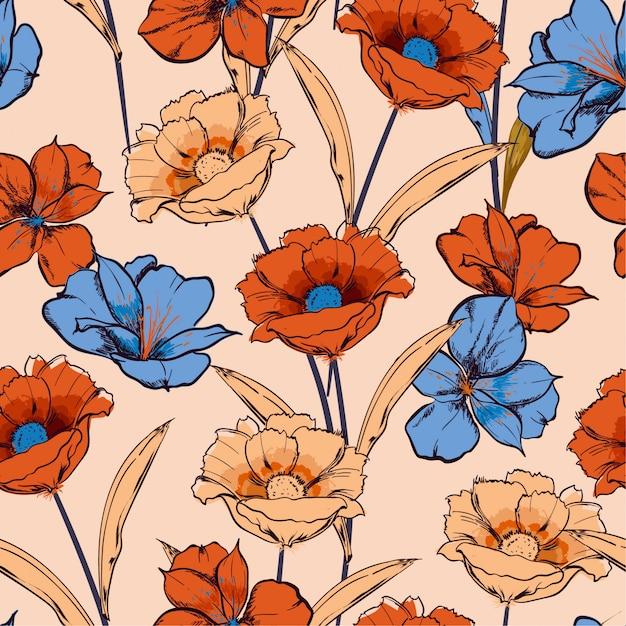 Croquis dessiné main fleurs épanouies dans le jardin floral répéter transparente motif en dessin vectoriel Vecteur Premium