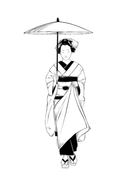 Croquis dessiné à la main de geisha japonaise Vecteur Premium