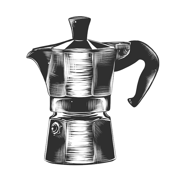 Croquis dessiné à la main d'une machine à café à geyser Vecteur Premium