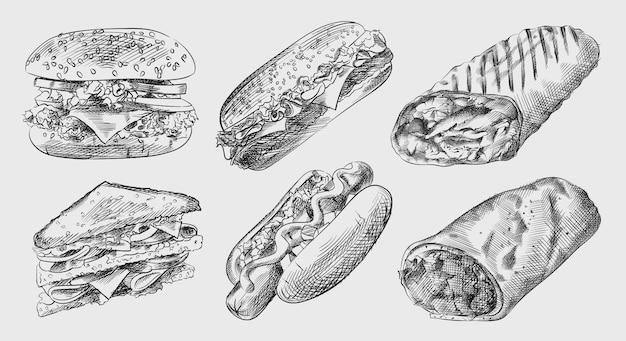 Croquis Dessiné à La Main De La Malbouffe Et Des Collations (jeu De Restauration Rapide). L'ensemble Comprend Un Gros Cheeseburger, Un Hot-dog Avec De La Moutarde, Un Sandwich Au Club, Un Sandwich, Un Shawarma, Des Fajitas, Un Burrito Vecteur Premium