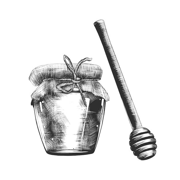 Croquis dessiné main de miel et louche en bois Vecteur Premium