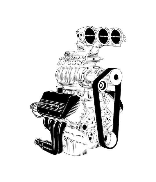 Croquis dessiné main de moteur de voiture Vecteur Premium