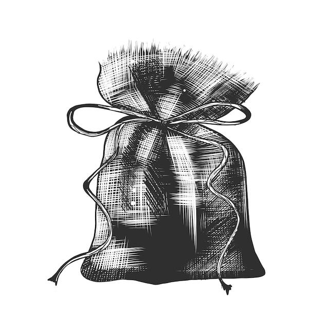 Croquis dessiné main de sac de café en monochrome Vecteur Premium