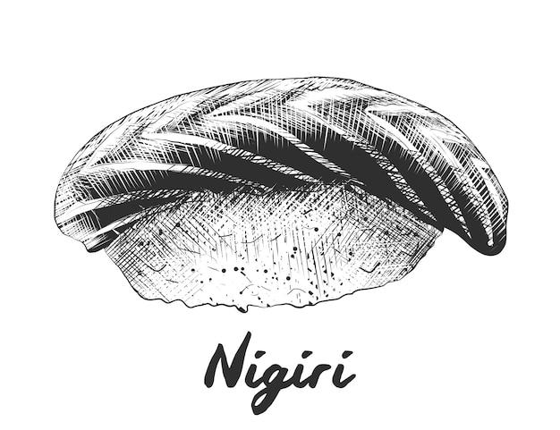 Croquis dessiné main de saumon nigiri en monochrome Vecteur Premium