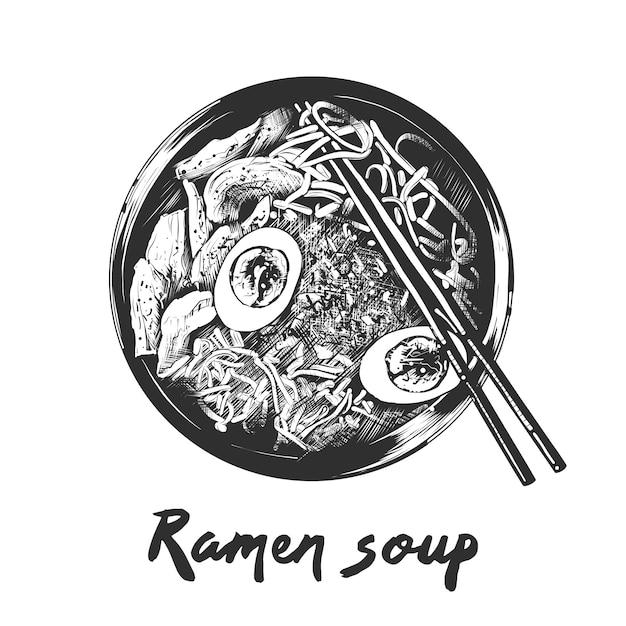 Croquis dessiné main de soupe de ramen en monochrome Vecteur Premium