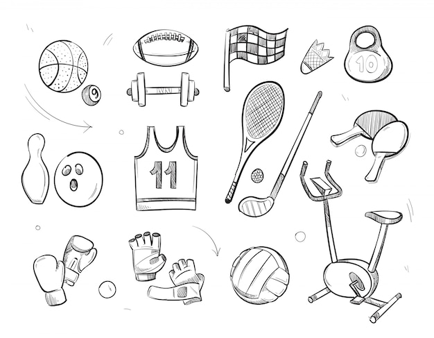 Croquis dessiné à la main sports fitness Vecteur Premium